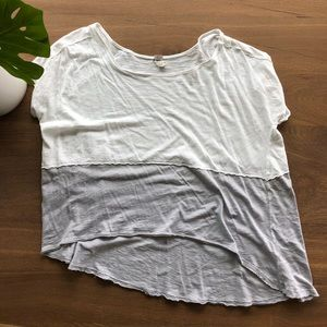 Free People flowy white and grey tee